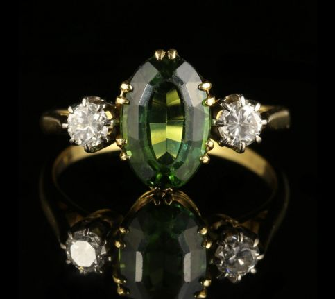 Antique Victorian Tourmaline Diamond Ring 18ct Gold front view