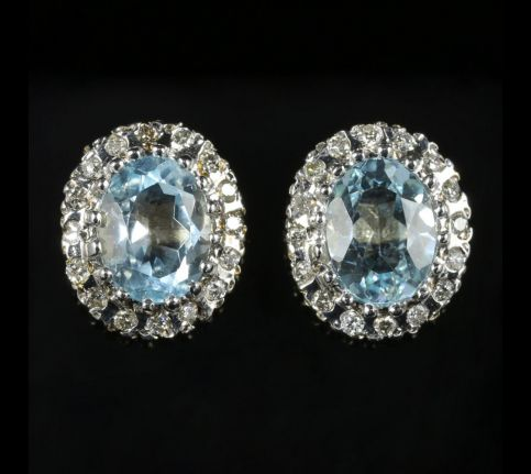 Aquamarine Diamond Cluster Earrings 9ct Gold front view