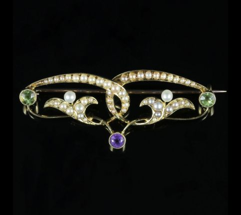Victorian Suffragette Gold Brooch Circa 1900 Pearl Amethyst Peridot front view