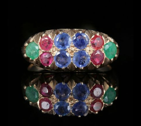 Sapphire Ruby Emerald Ring 14ct Gold front view