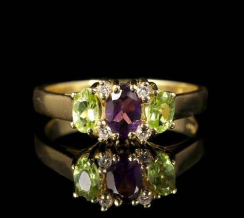 Suffragette Amethyst Peridot Diamond Ring front