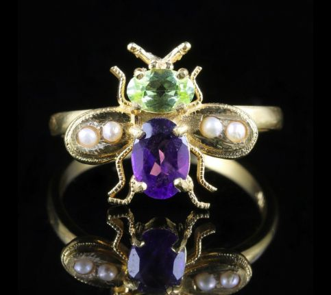 Suffragette Bee Ring Peridot Amethyst Pearl 18ct Gold On Silver front view