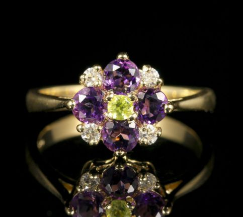Suffragette Cluster Ring Amethyst Peridot Diamond front