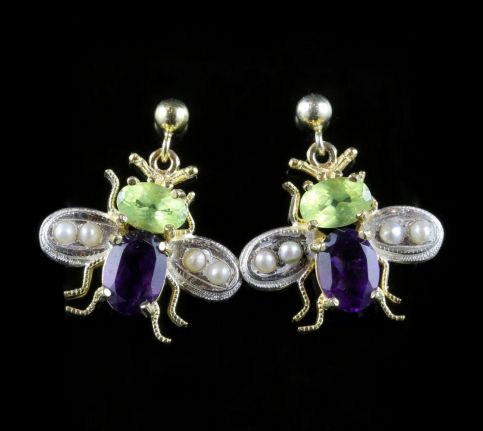 Suffragette Insect Bee Earrings Peridot Amethyst Pearls front view