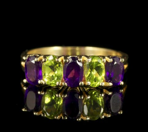 Suffragette Ring Amethyst Peridot 9ct Gold Band Ring top front