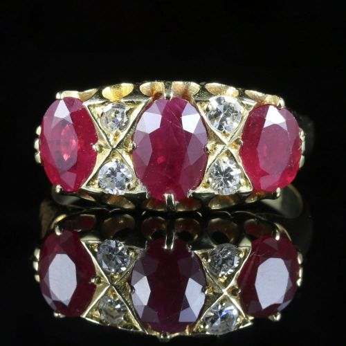 VICTORIAN RUBY & DIAMOND 18CT GOLD RING