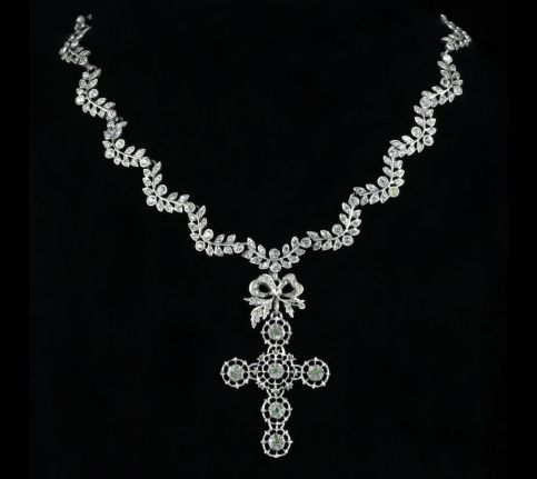 Victorian Suffragette Collar and Detachable Cross Pendant Circa 1880 front view