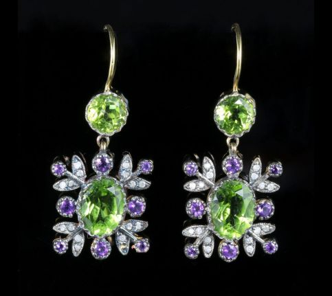 Suffragette Diamond Amethyst Peridot Earrings 18ct and Silver front view