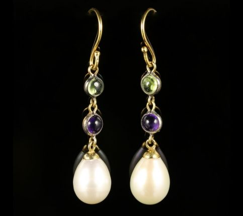 Suffragette Earrings Pearl Amethyst Peridot 9ct Gold front view