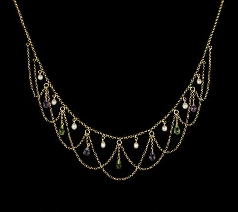Antique Victorian Suffragette Necklace Circa 1900 15ct Gold front view