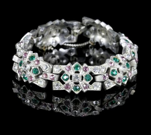 Art Deco Suffragette Bracelet Paste Circa 1920 front view