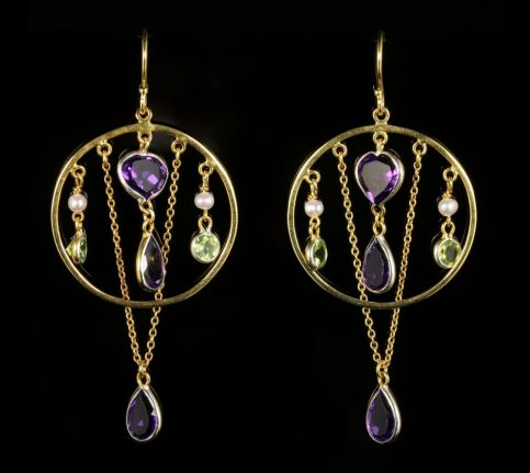 Suffragette Earrings Amethyst Peridot Pearl 18ct Gold on Silver front view