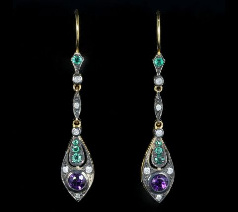 Suffragette Earrings Emerald Amethyst Diamond front view