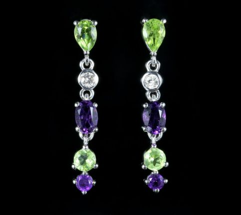 Suffragette Long Earrings Amethyst Peridot Diamond 9ct White Gold front view