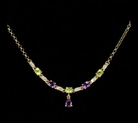 Suffragette Necklace 9ct Gold Peridot Amethyst Diamond front view