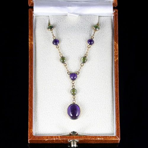 Suffragette Necklace Amethyst Peridot 9ct Gold
