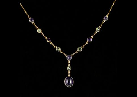 Suffragette Necklace Amethyst Peridot 18ct Gold front view