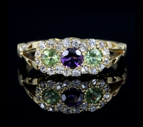 Antique Suffragette Victorian Ring 18ct Gold Diamond Amethyst Peridot front view