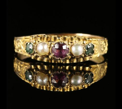 Antique Victorian Suffragette Amethyst Emerald Pearl Ring Dated 1867 12ct Gold
