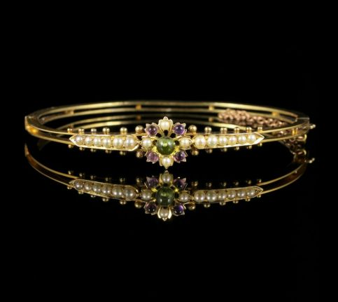 Antique Victorian Suffragette Bangle Amethyst Peridot Pearl 15ct Gold front view