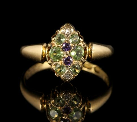 Antique Victorian Suffragette Ring 18ct Gold Circa 1900 front view