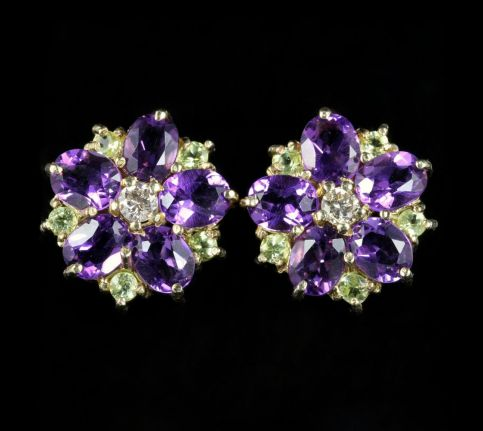 SUFFRAGETTE CLUSTER FLOWER EARRINGS AMETHYST PERIDOT DIAMOND 9CT GOLD