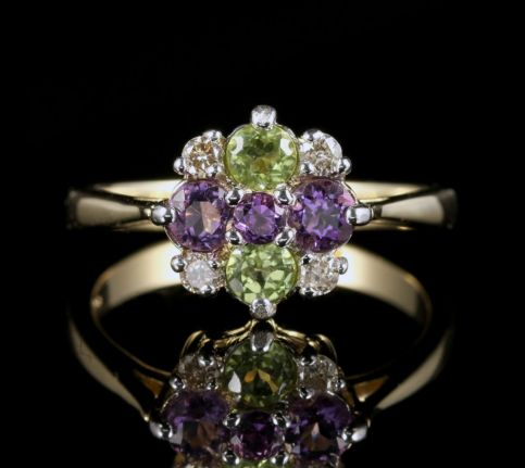 Suffragette Cluster Ring Amethyst Peridot Diamond 9ct Gold front view