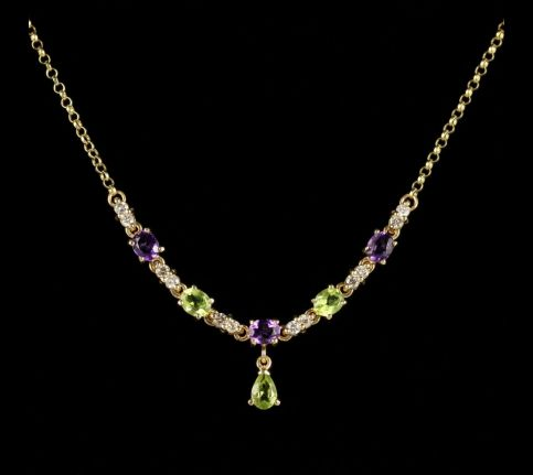 Suffragette Necklace Amethyst Peridot Diamond 9ct Gold front view