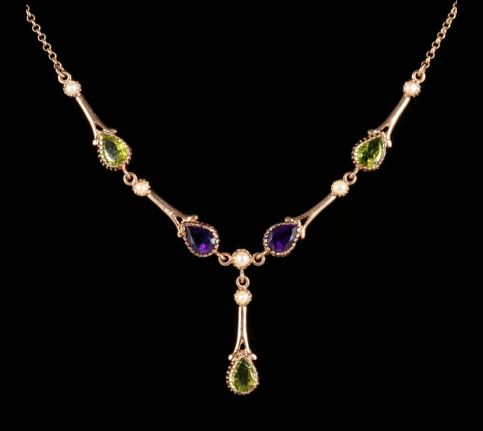 Suffragette Necklace Peridot Amethyst Pearl 9ct Rose Gold front view