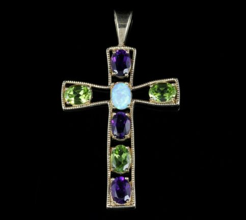 Amethyst Peridot Opal Cross Pendant 9ct Gold front view