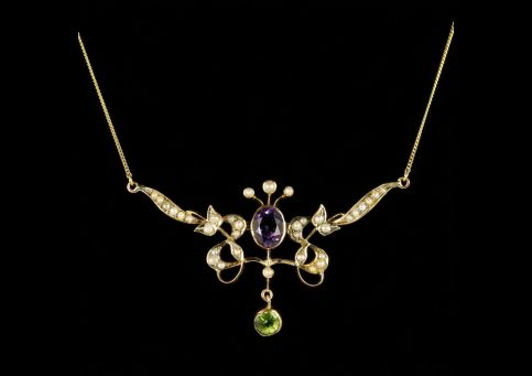 Antique Victorian Suffragette Necklace Gold 1.80ct Amethyst Circa 1900 front view
