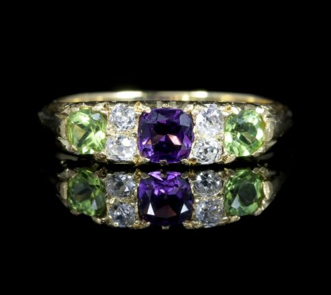 Antique Victorian Suffragette Ring 18ct Gold Amethyst Diamond Peridot Circa 1900 front view
