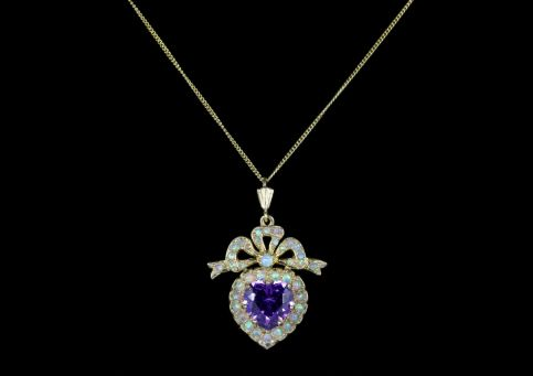 Suffragette Amethyst Opal Heart Necklace Gold front view