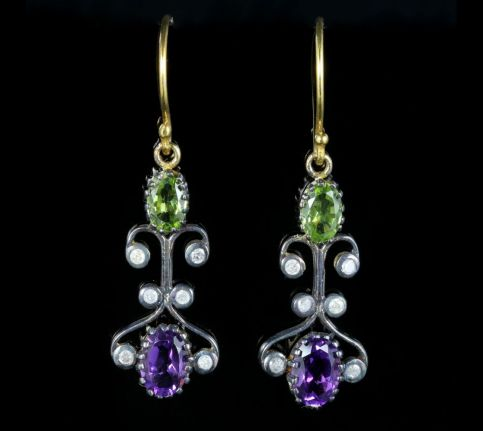 Suffragette Earrings Long Boxed Peridot Amethyst Diamond front view two