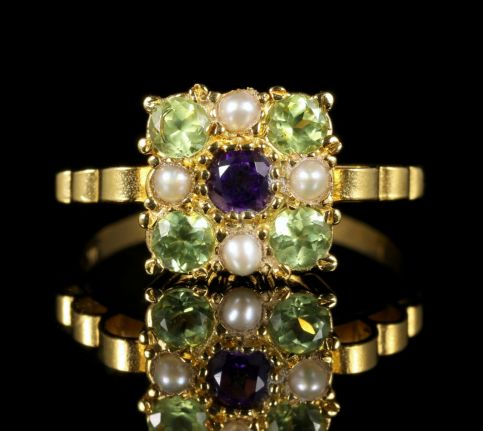 Suffragette Ring Amethyst Peridot Pearl 18ct Gold Silver front view