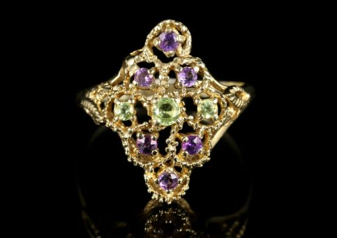 Suffragette Ring Marquise Amethyst Peridot 9ct Gold front view