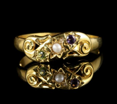 Suffragette Ring Pearl Amethyst Peridot 18ct Gold on Silver front view