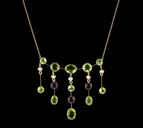 Antique Victorian Suffragette Necklace Peridot Amethyst Pearl Circa 1900 front view