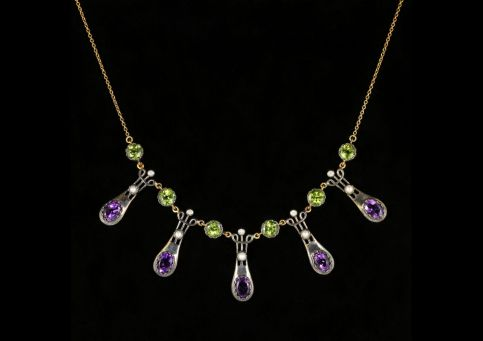 Suffragette Necklace Peridot Amethyst Dropper 9ct Gold front view