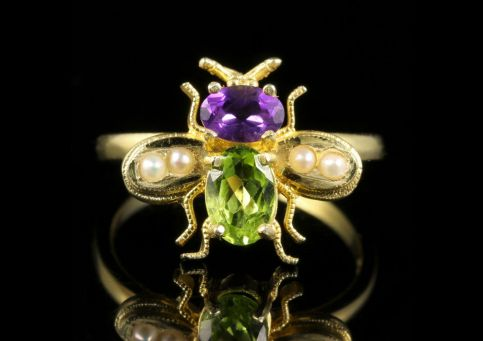 SUFFRAGETTE BEE RING PERIDOT AMETHYST PEARL 18CT GOLD SILVER