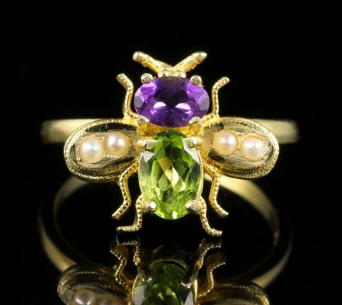 SUFFRAGETTE BEE RING PERIDOT AMETHYST PEARL SILVER 18CT GOLD