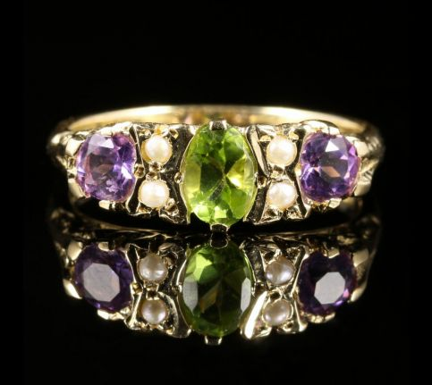 SUFFRAGETTE RING PERIDOT AMETHYST PEARL 9CT GOLD