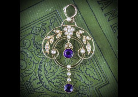 ANTIQUE EDWARDIAN AMETHYST PEARL PENDANT 15CT GOLD CIRCA 1910