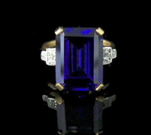 CZ TANZANITE WHITE SAPPHIRE RING EMERALD CUT