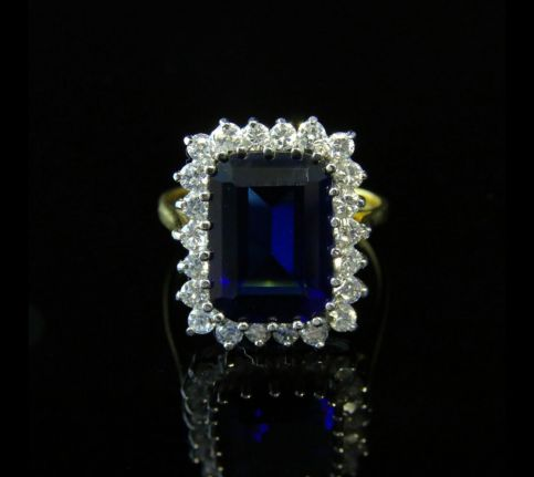 CZ TANZANITE RING PASTE TANZANITE EMERALD CUT RING