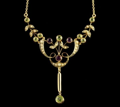 1Antique Victorian Gold Suffragette Necklace Circa 1900 FRONT