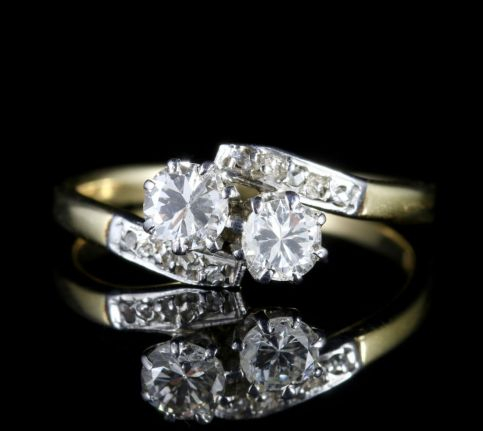 Antique Edwardian Diamond Twist Engagement Ring Circa 1910 FRONT