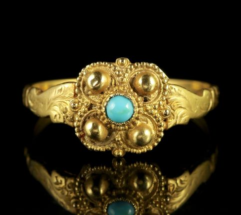 Antique Georgian Turquoise 18ct Gold Ring Circa 1730 FRONT