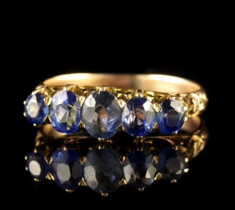 Antique Victorian Sapphire Five Stone Ring 18ct Gold FRONT