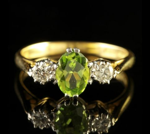 Peridot Diamond Trilogy Engagement Ring Dated London 1971 FRONT